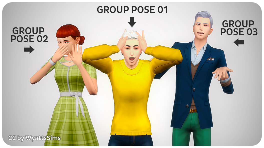 Shocked! Group & Individual Poses | SimsWorkshop